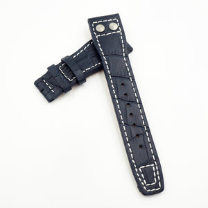 Navy Blue IWC Aviation Style Alligator-Embossed Calf Leather Watch Strap w/ Deployment Clasp - Strapholic_錶帶工房, Rolex, IWC, Panerai, AP, Cartier, Tudor, Omega, Watch_Bands