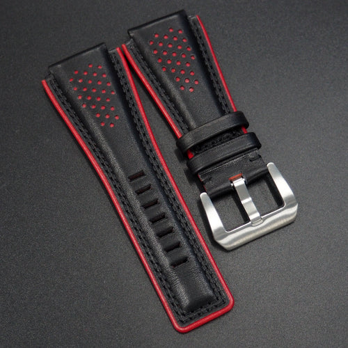 Premium Black / Red Calf Leather Watch Strap - Strapconcept_錶帶工房, Rolex_Leather, IWC_Strap, Panerai_Strap, AP_Rubber, Cartier_Leather, Tudor_Nato, Omega_Rubber, Watch_Straps