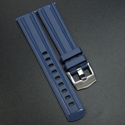 Blue Straight End Rubber Watch Strap w/ Buckle & Quick Release Spring Bars - Strapconcept_錶帶工房, Rolex_Leather, IWC_Strap, Panerai_Strap, AP_Rubber, Cartier_Leather, Tudor_Nato, Omega_Rubber, Watch_Straps