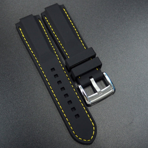 Black Rubber Watch Strap w/ Yellow Stitching - Strapconcept_錶帶工房, Rolex_Leather, IWC_Strap, Panerai_Strap, AP_Rubber, Cartier_Leather, Tudor_Nato, Omega_Rubber, Watch_Straps