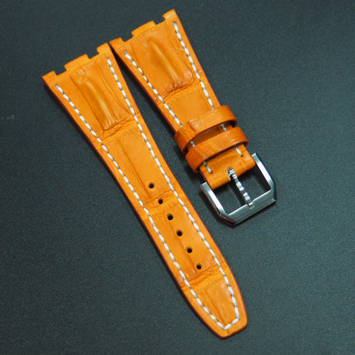 Premium Orange Alligator Leather / White Stitching Watch Strap - Strapconcept_錶帶工房, Rolex_Leather, IWC_Strap, Panerai_Strap, AP_Rubber, Cartier_Leather, Tudor_Nato, Omega_Rubber, Watch_Straps