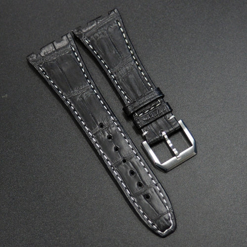 Premium Black Alligator Leather Watch Strap w/ White Stitching - Strapconcept_錶帶工房, Rolex_Leather, IWC_Strap, Panerai_Strap, AP_Rubber, Cartier_Leather, Tudor_Nato, Omega_Rubber, Watch_Straps