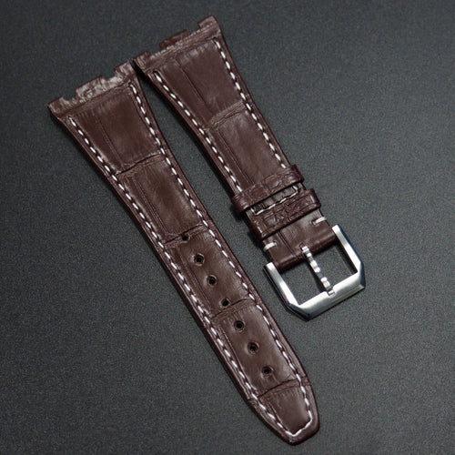 Premium Brown Alligator Leather Watch Strap w/ White Stitching - Strapconcept_錶帶工房, Rolex_Leather, IWC_Strap, Panerai_Strap, AP_Rubber, Cartier_Leather, Tudor_Nato, Omega_Rubber, Watch_Straps