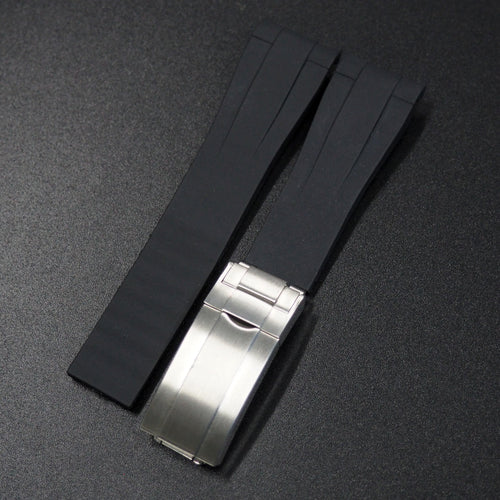 Black Rubber Watch Strap With Curved Ends - Strapconcept_錶帶工房, Rolex_Leather, IWC_Strap, Panerai_Strap, AP_Rubber, Cartier_Leather, Tudor_Nato, Omega_Rubber, Watch_Straps