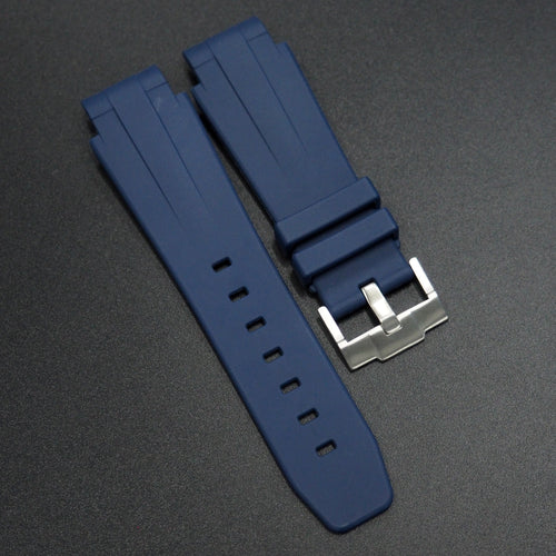 Blue Rubber Watch Strap With Curved Ends - Strapconcept_錶帶工房, Rolex_Leather, IWC_Strap, Panerai_Strap, AP_Rubber, Cartier_Leather, Tudor_Nato, Omega_Rubber, Watch_Straps