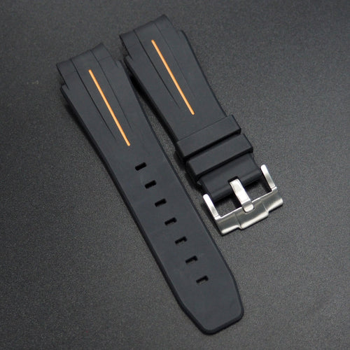 Black w/ Orange Line Rubber Watch Strap With Curved Ends - Strapconcept_錶帶工房, Rolex_Leather, IWC_Strap, Panerai_Strap, AP_Rubber, Cartier_Leather, Tudor_Nato, Omega_Rubber, Watch_Straps