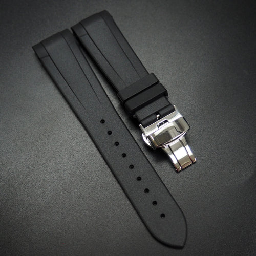 Black Rubber Watch Strap w/ Curved Ends - Strapconcept_錶帶工房, Rolex_Leather, IWC_Strap, Panerai_Strap, AP_Rubber, Cartier_Leather, Tudor_Nato, Omega_Rubber, Watch_Straps