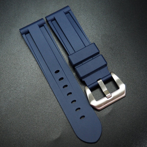 Navy Blue Rubber Watch Strap - Strapconcept_錶帶工房, Rolex_Leather, IWC_Strap, Panerai_Strap, AP_Rubber, Cartier_Leather, Tudor_Nato, Omega_Rubber, Watch_Straps