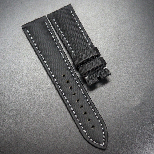 Black Nylon / Gray Stitching Watch Strap - Strapconcept_錶帶工房, Rolex_Leather, IWC_Strap, Panerai_Strap, AP_Rubber, Cartier_Leather, Tudor_Nato, Omega_Rubber, Watch_Straps