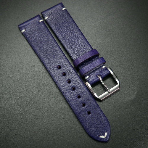 Vintage Style Violet Calf Leather Watch Strap - Strapconcept_錶帶工房, Rolex_Leather, IWC_Strap, Panerai_Strap, AP_Rubber, Cartier_Leather, Tudor_Nato, Omega_Rubber, Watch_Straps