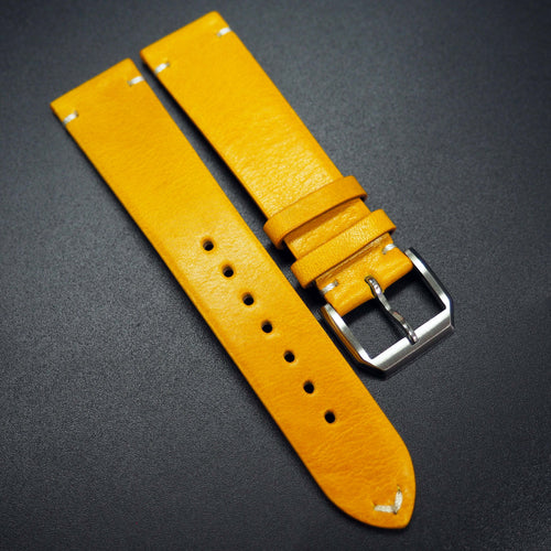 Vintage Style Yellow Calf Leather Watch Strap - Strapconcept_錶帶工房, Rolex_Leather, IWC_Strap, Panerai_Strap, AP_Rubber, Cartier_Leather, Tudor_Nato, Omega_Rubber, Watch_Straps