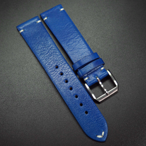 Vintage Style Blue Calf Leather Watch Strap - Strapconcept_錶帶工房, Rolex_Leather, IWC_Strap, Panerai_Strap, AP_Rubber, Cartier_Leather, Tudor_Nato, Omega_Rubber, Watch_Straps