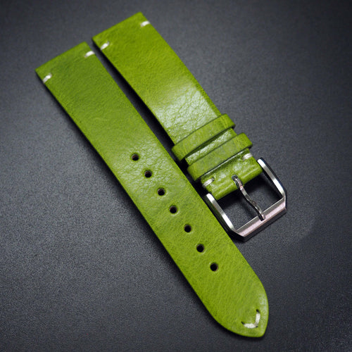 Vintage Style Kelly Green Calf Leather Watch Strap - Strapconcept_錶帶工房, Rolex_Leather, IWC_Strap, Panerai_Strap, AP_Rubber, Cartier_Leather, Tudor_Nato, Omega_Rubber, Watch_Straps