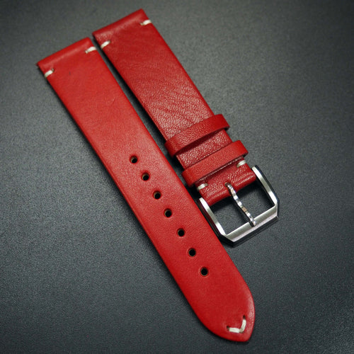 Vintage Style Red Calf Leather Watch Strap - Strapconcept_錶帶工房, Rolex_Leather, IWC_Strap, Panerai_Strap, AP_Rubber, Cartier_Leather, Tudor_Nato, Omega_Rubber, Watch_Straps