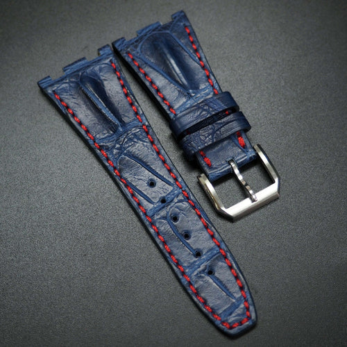 Premium Navy Blue / Red Stitching Alligator Leather Watch Strap