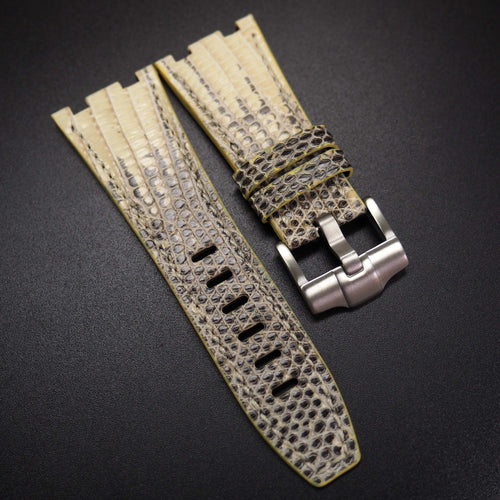 Eggnog Yellow / Black Snake Leather Watch Strap