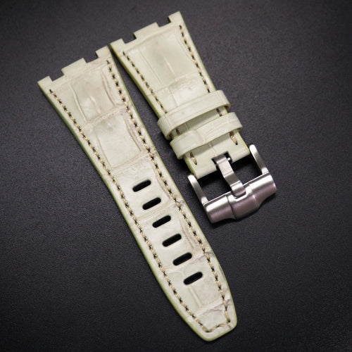 Premium White Alligator Leather Watch Strap