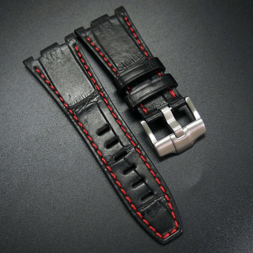 Premium Black / Red Stitching Alligator Leather Watch Strap