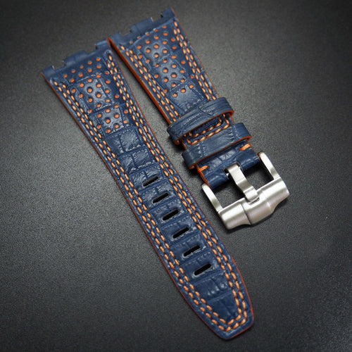 Premium Deep Blue / Orange Stitching Alligator Leather Watch Strap