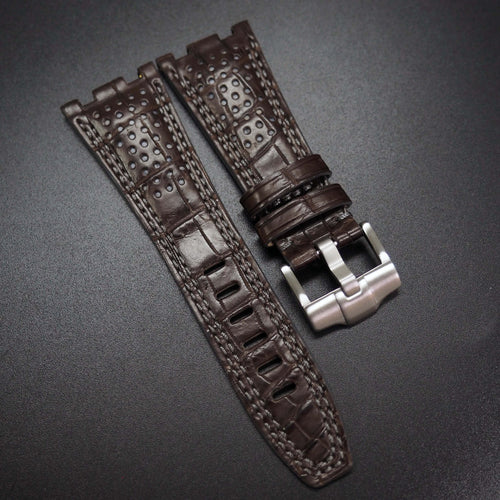 Premium Brown / Gray Stitching Alligator Leather Watch Strap