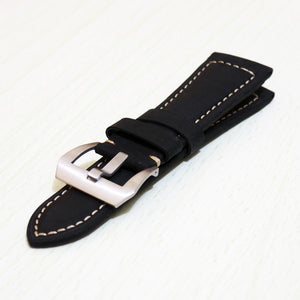 Panerai Style Black Calf Leather Watch Strap w/ Buckle - Strapholic_錶帶工房, Rolex, IWC, Panerai, AP, Cartier, Tudor, Omega, Watch_Bands