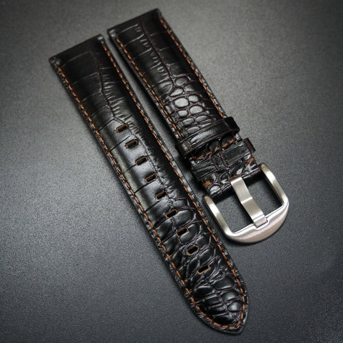 Black Alligator-Embossed Calf Leather / Brown Stitching Watch Strap