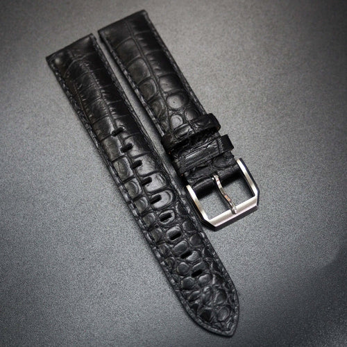 Black Alligator-Embossed Calf Leather Stitching Watch Strap - Strapconcept_錶帶工房, Rolex_Leather, IWC_Strap, Panerai_Strap, AP_Rubber, Cartier_Leather, Tudor_Nato, Omega_Rubber, Watch_Straps