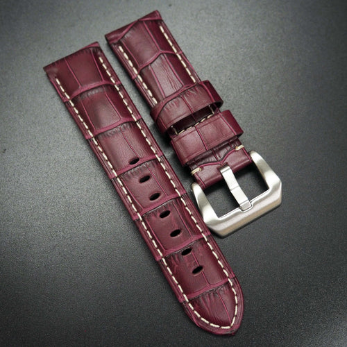 Byzantine Violet Alligator-Embossed Calf Leather Watch Strap