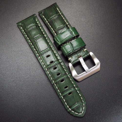 Green Alligator-Embossed Calf Leather Watch Strap