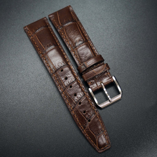 Cinnamon Brown Alligator-Embossed Calf Leather Watch Strap