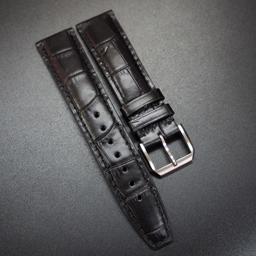 Black Alligator-Embossed Calf Leather Watch Strap