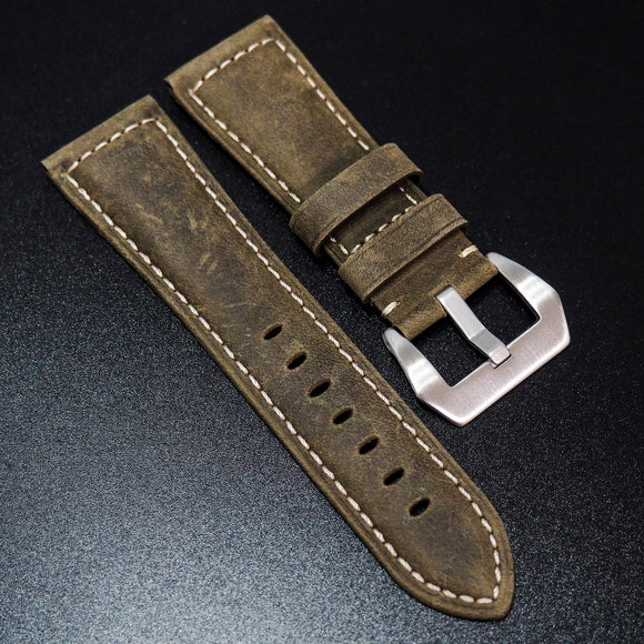 Panerai Style Cedar Brown Calf Leather Watch Strap - Strapholic_錶帶工房, Rolex, IWC, Panerai, AP, Cartier, Tudor, Omega, Watch_Bands
