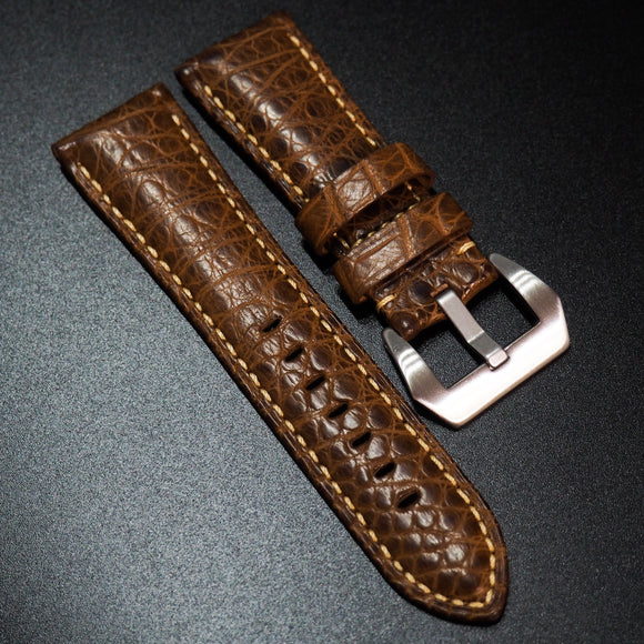 Panerai Style Brown Alligator Leather Watch Strap - Strapholic_錶帶工房, Rolex, IWC, Panerai, AP, Cartier, Tudor, Omega, Watch_Bands