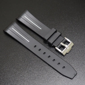 20mm Black w/ White Line Rubber Watch Strap With Curved Ends For Rolex - Strapholic_錶帶工房, Rolex, IWC, Panerai, AP, Cartier, Tudor, Omega, Watch_Bands
