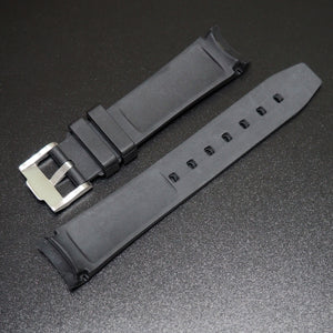 20mm Black w/ Green Line Rubber Watch Strap With Curved Ends For Rolex - Strapholic_錶帶工房, Rolex, IWC, Panerai, AP, Cartier, Tudor, Omega, Watch_Bands