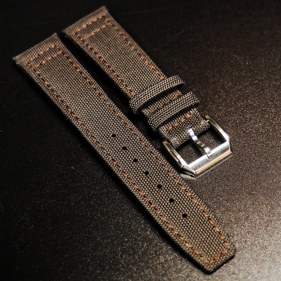 Brown IWC Aviation Nylon Watch Strap w/ Tang Buckle - Strapholic_錶帶工房, Rolex, IWC, Panerai, AP, Cartier, Tudor, Omega, Watch_Bands