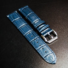 Omega Style Blue Alligator-Embossed Calf Leather Watch Strap - Strapholic_錶帶工房, Rolex, IWC, Panerai, AP, Cartier, Tudor, Omega, Watch_Bands