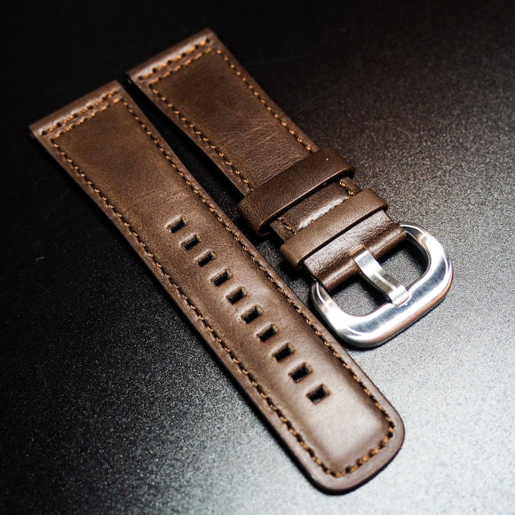 SevenFriday Style Brown Calf Leather Orange Stitching Watch Strap - Strapholic_錶帶工房, Rolex, IWC, Panerai, AP, Cartier, Tudor, Omega, Watch_Bands