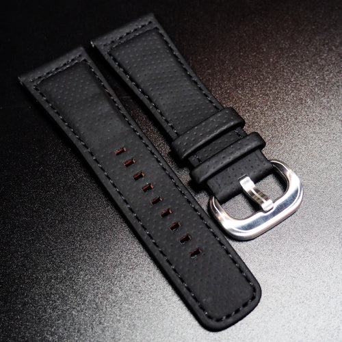 SevenFriday Style Black Calf Leather Orange Stitching Watch Strap - Strapholic_錶帶工房, Rolex, IWC, Panerai, AP, Cartier, Tudor, Omega, Watch_Bands