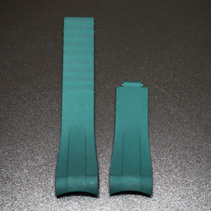 20mm Sea Green Rubber Watch Strap With Curved Ends & Clasp For Rolex - Strapholic_錶帶工房, Rolex, IWC, Panerai, AP, Cartier, Tudor, Omega, Watch_Bands