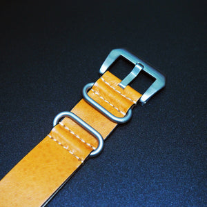 Yellow Nato Style Calf Leather Watch Strap w/ Tang Buckle - Strapconcept_錶帶工房, Rolex_Leather, IWC_Strap, Panerai_Strap, AP_Rubber, Cartier_Leather, Tudor_Nato, Omega_Rubber, Watch_Straps