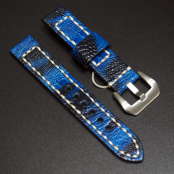 Vintage Style Blue Black Ostrich Leather Watch Strap w/ Buckle - Strapholic_錶帶工房, Rolex, IWC, Panerai, AP, Cartier, Tudor, Omega, Watch_Bands