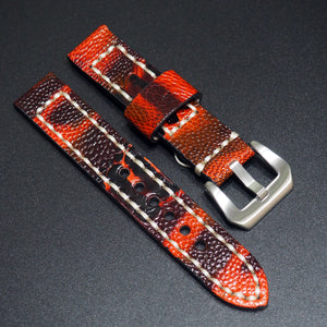 Vintage Style Black Red Ostrich Leather Watch Strap w/ Buckle - Strapholic_錶帶工房, Rolex, IWC, Panerai, AP, Cartier, Tudor, Omega, Watch_Bands
