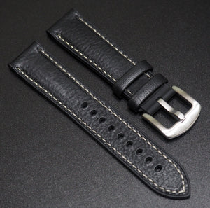 Performance Style Black Italian Calf Leather Watch Strap w/ Buckle - Strapholic_錶帶工房, Rolex, IWC, Panerai, AP, Cartier, Tudor, Omega, Watch_Bands