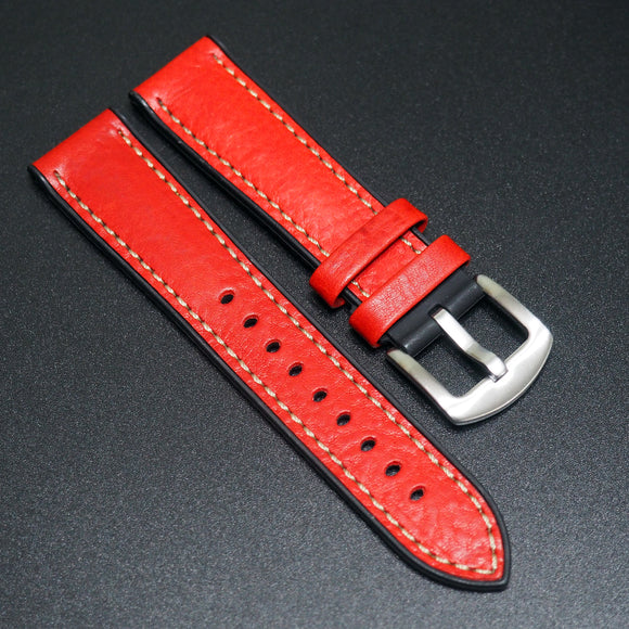 Performance Style Red Italian Calf Leather Watch Strap w/ Buckle - Strapholic_錶帶工房, Rolex, IWC, Panerai, AP, Cartier, Tudor, Omega, Watch_Bands