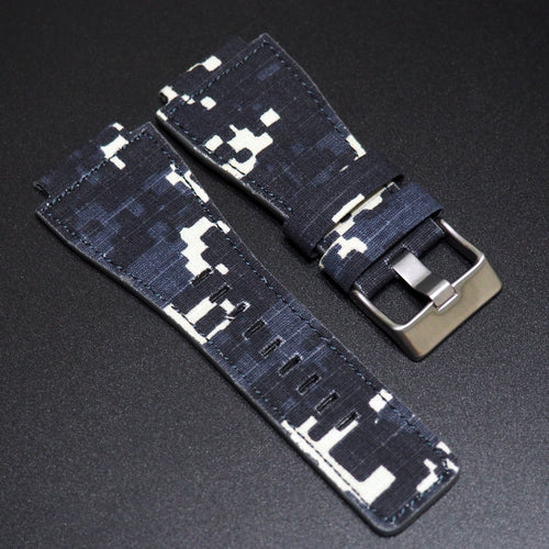 Blue Camouflage Nylon Watch Strap w/ Tang Buckle - Strapconcept_錶帶工房, Rolex_Leather, IWC_Strap, Panerai_Strap, AP_Rubber, Cartier_Leather, Tudor_Nato, Omega_Rubber, Watch_Straps