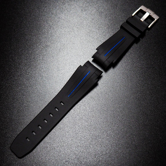 Black w/ Blue Line Premium Rubber Watch Strap With Curved Ends For Rolex Deepsea - Strapholic_錶帶工房, Rolex, IWC, Panerai, AP, Cartier, Tudor, Omega, Watch_Bands