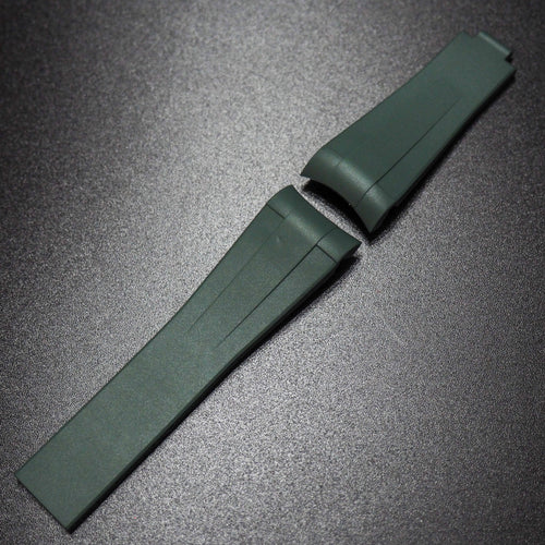 Hunter Green Vulcanized Rubber Watch Strap With Curved Ends For Rolex - Strapholic_錶帶工房, Rolex, IWC, Panerai, AP, Cartier, Tudor, Omega, Watch_Bands