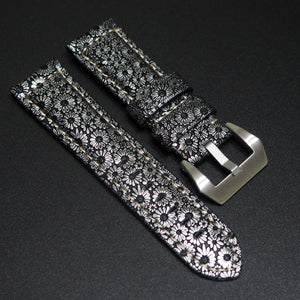 24mm Silver Flower Pattern Embossed Calf Leather Watch Strap w/ Buckle For Panerai - Strapholic_錶帶工房, Rolex, IWC, Panerai, AP, Cartier, Tudor, Omega, Watch_Bands