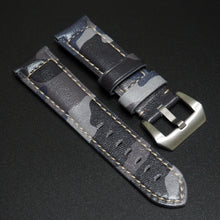 24mm Blue Camouflage Calf Leather Watch Strap w/ Buckle For Panerai - Strapholic_錶帶工房, Rolex, IWC, Panerai, AP, Cartier, Tudor, Omega, Watch_Bands